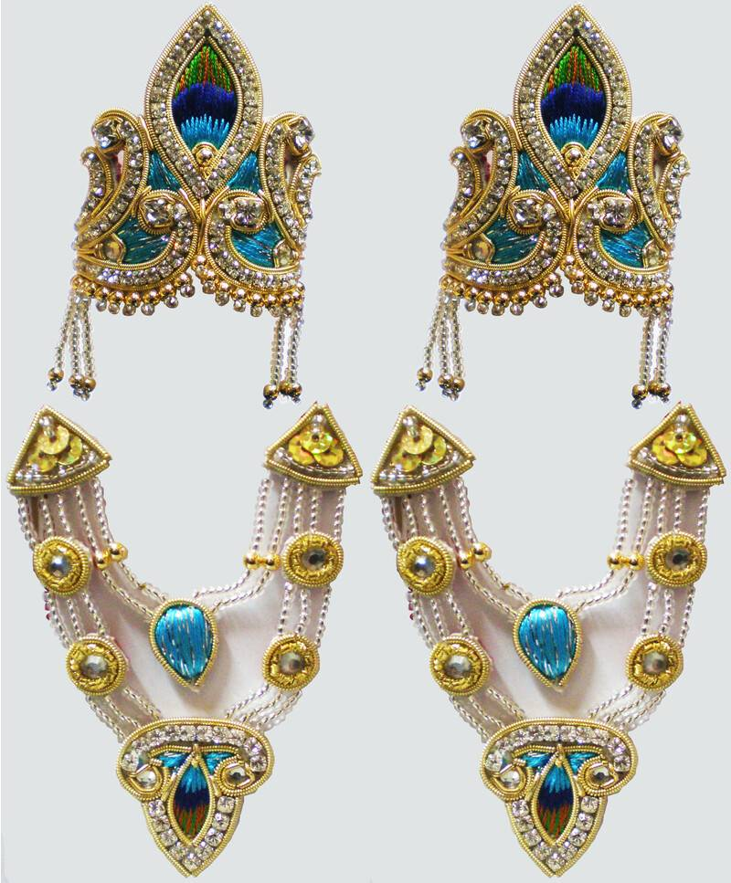 Crown and Necklace Set -- with Blue Thread Work & diamond / gold look (pair)