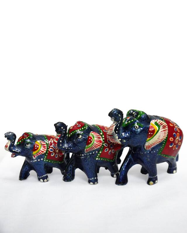 Hand-Painted Elephant Family (3 Elephant Figures)