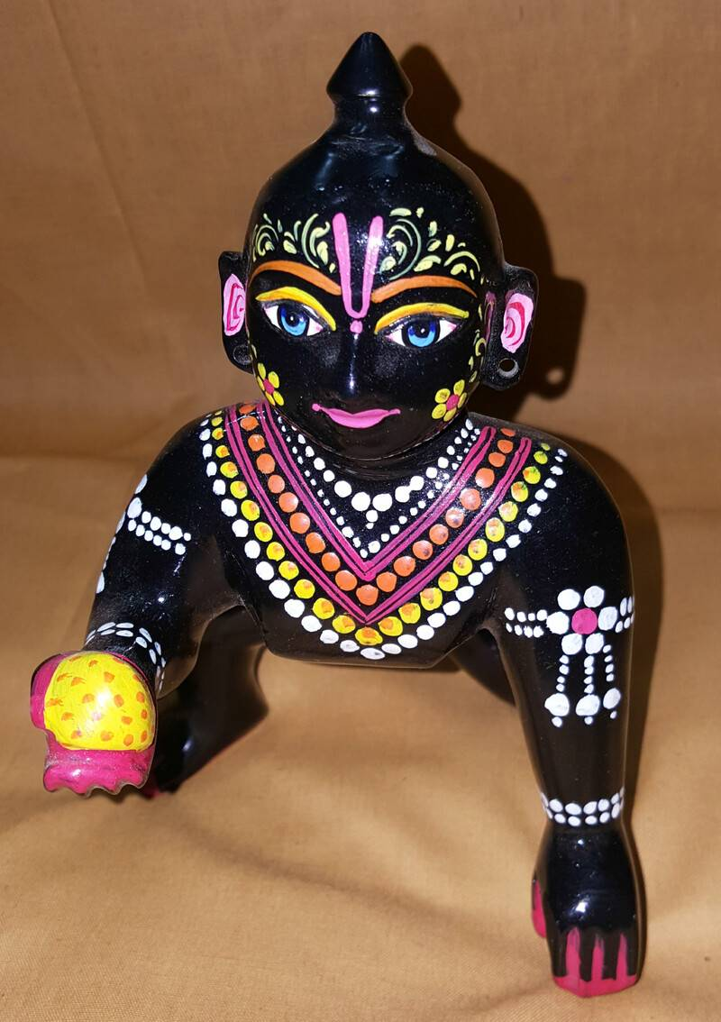 Laddu Gopal Painted Black Brass Sitting Deity 7