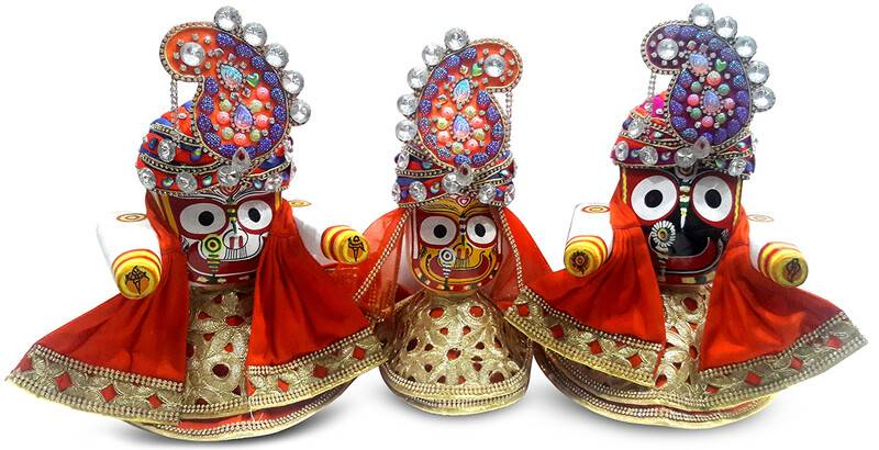 Fancy Deity Dress with Multi Colored Crowns -- For Jagannatha, Baladeva and Subhadra