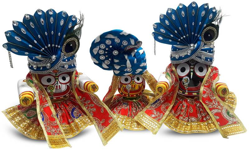 Multi Colored Dress, Blue & White Crowns -- For Jagannatha, Baladeva and Subhadra