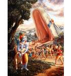 Krishna Looks as all His Friends Walk Into the Mouth of a Giant Snake