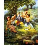 Krishna, Balaram and the Cowherd Boys Play in the Forrest