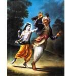 Krishna Chasing a Demon