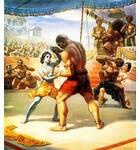 Krishna Fights the Wrestler in the Arena of Kamsa