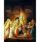 Krishna Leaving, His Wives Lamenting