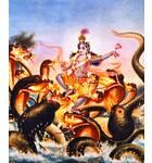 Krishna Very Artistically Dances on the Hoods of the Kaliya Serpent