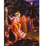 Krishna Plays His Flute on a Full-Moon Night