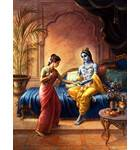 Krishna is Served by one of His Wives in Dvarka