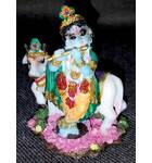 "Krishna With Cow -- Small Size Polyresin Deity (2.5"" high)"