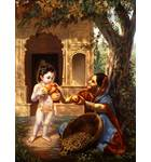 Krishna and Fruit Vendor Painting