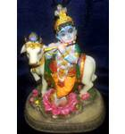 "Krishna With Cow  Polyresin Figure (5"" high)"