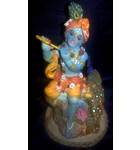"Krishna With Peacock  Polyresin Figure (5"" high)"
