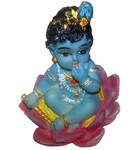 "Baby Krishna Sitting in a Lotus Flower Polyresin Figure (2.5"" high)"