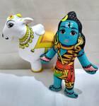 Lord Shiva and Nandi Bull Dolls -- Childrens Stuffed Toy