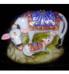 "Cow with Calf decorated with Imitation Diamonds 5"" (Polyresin)"