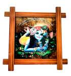 "Wooden Framed Picture -- Lord Krishna --  9"" x 9"""
