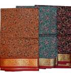 Sari, Cotton Printed  -- Dark Colors with Fancy Gold Border